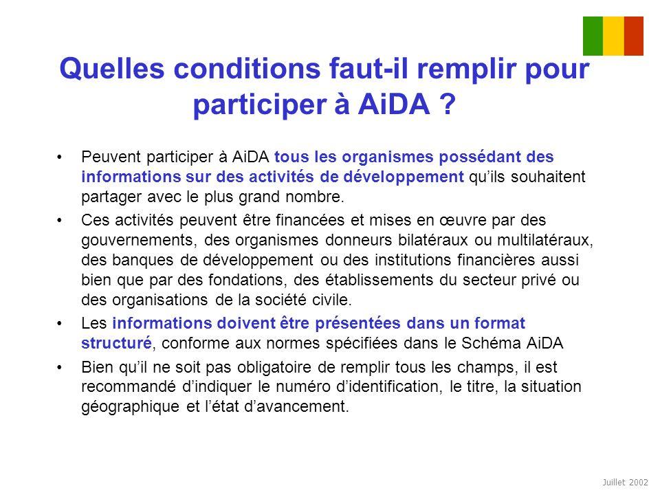 Juillet 2002 Quelles conditions faut-il remplir pour participer à AiDA ? Peuvent participer à AiDA tous les organismes possédant des informations sur