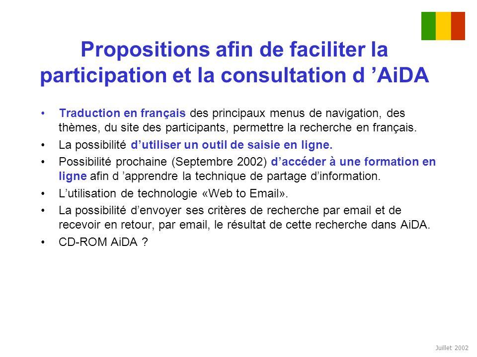 Juillet 2002 Propositions afin de faciliter la participation et la consultation d AiDA Traduction en français des principaux menus de navigation, des
