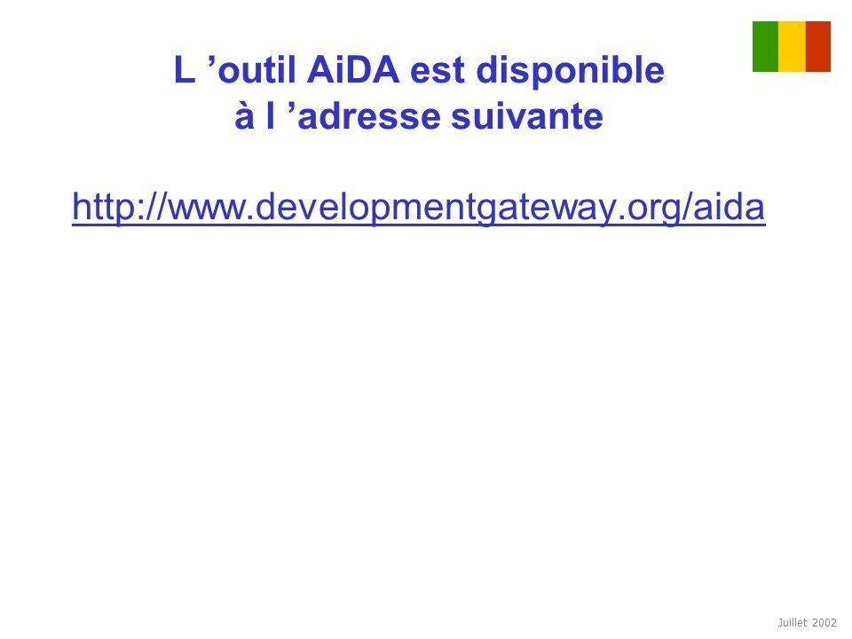 Juillet 2002 L outil AiDA est disponible à l adresse suivante http://www.developmentgateway.org/aida