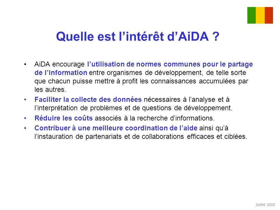 Juillet 2002 Quelle est lintérêt dAiDA ? AiDA encourage lutilisation de normes communes pour le partage de linformation entre organismes de développem