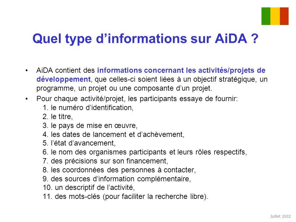 Juillet 2002 Quel type dinformations sur AiDA ? AiDA contient des informations concernant les activités/projets de développement, que celles-ci soient