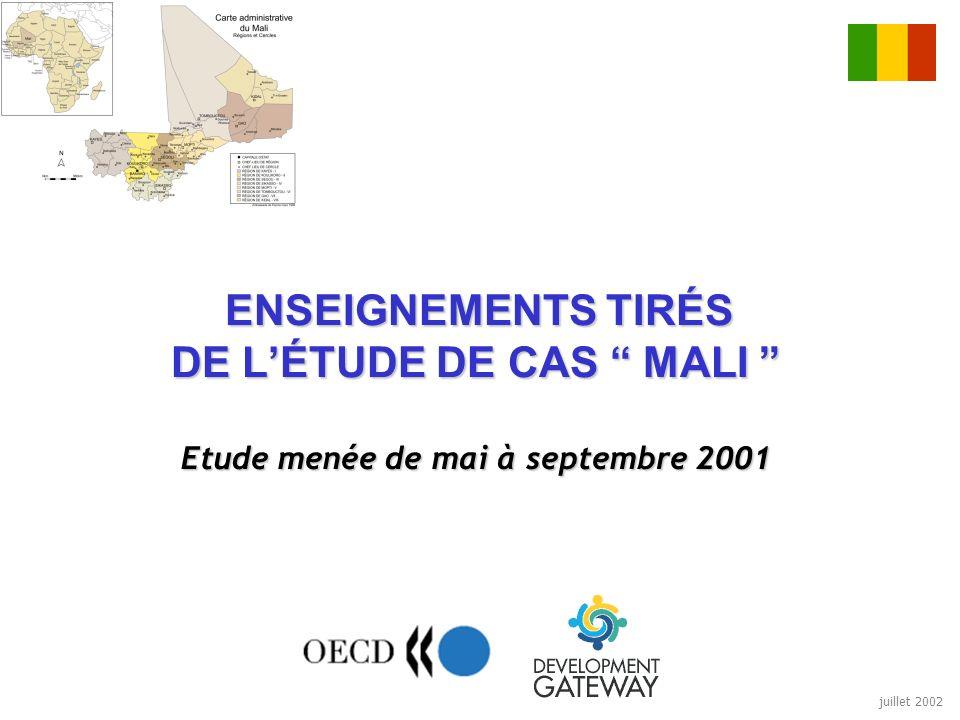juillet 2002 ENSEIGNEMENTS TIRÉS DE LÉTUDE DE CAS MALI Etude menée de mai à septembre 2001