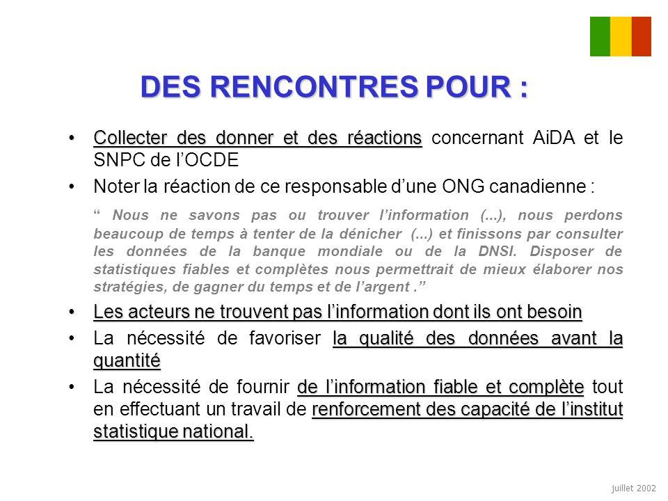 juillet 2002 DES RENCONTRES POUR : Collecter des donner et des réactionsCollecter des donner et des réactions concernant AiDA et le SNPC de lOCDE Note