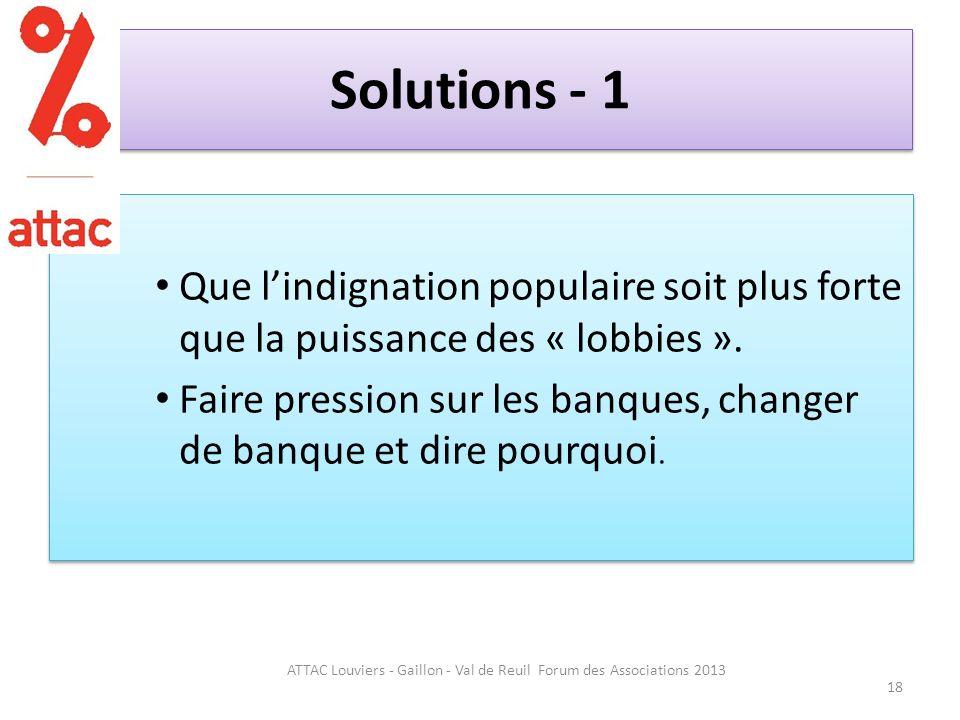 Solutions - 1 Que lindignation populaire soit plus forte que la puissance des « lobbies ».