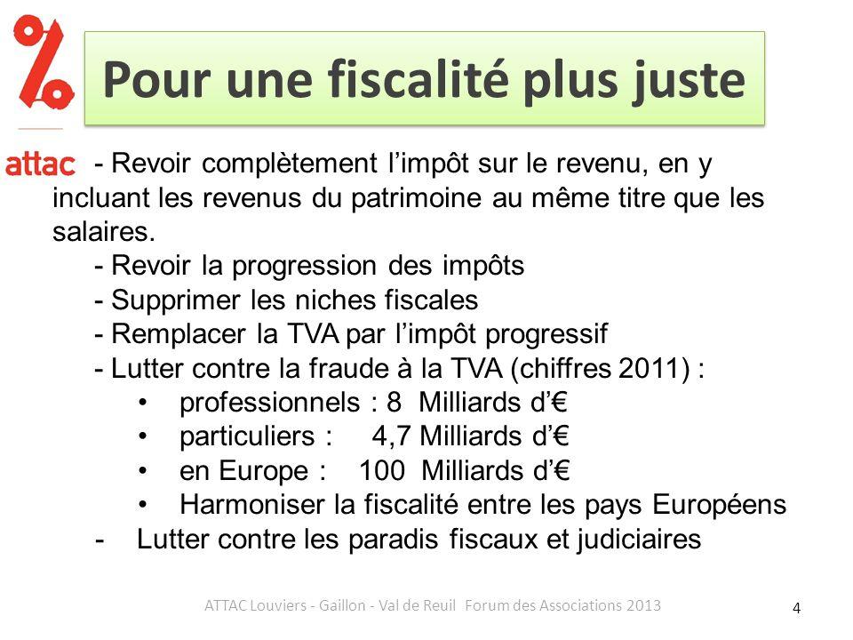 Pour une fiscalité plus juste 4 ATTAC Louviers - Gaillon - Val de Reuil Forum des Associations 2013 - Revoir complètement limpôt sur le revenu, en y incluant les revenus du patrimoine au même titre que les salaires.