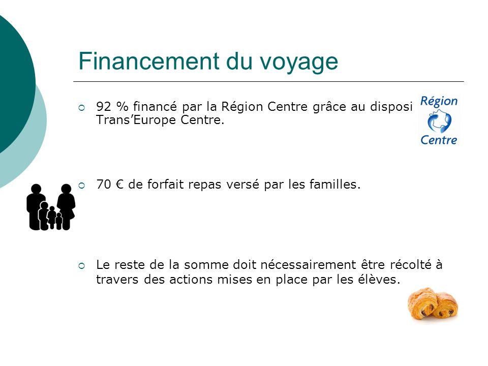Financement du voyage 92 % financé par la Région Centre grâce au dispositif TransEurope Centre. 70 de forfait repas versé par les familles. Le reste d