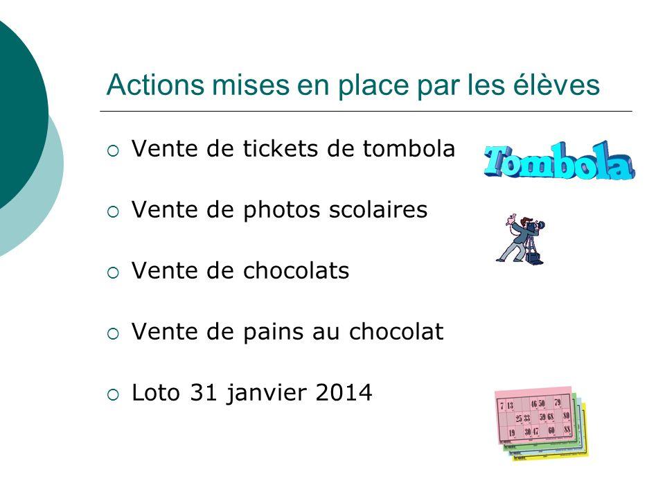 Actions mises en place par les élèves Vente de tickets de tombola Vente de photos scolaires Vente de chocolats Vente de pains au chocolat Loto 31 janv