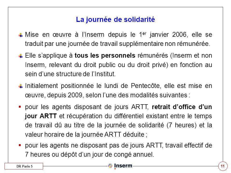 11 Mise en œuvre à lInserm depuis le 1 er janvier 2006, elle se traduit par une journée de travail supplémentaire non rémunérée.