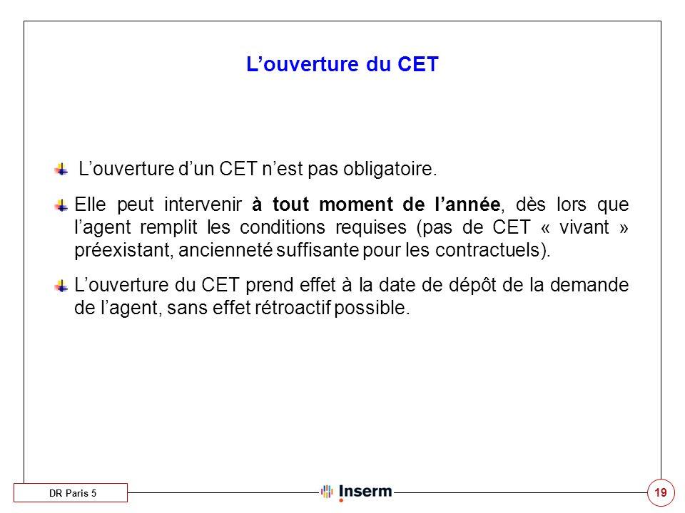 19 Louverture du CET Louverture dun CET nest pas obligatoire.