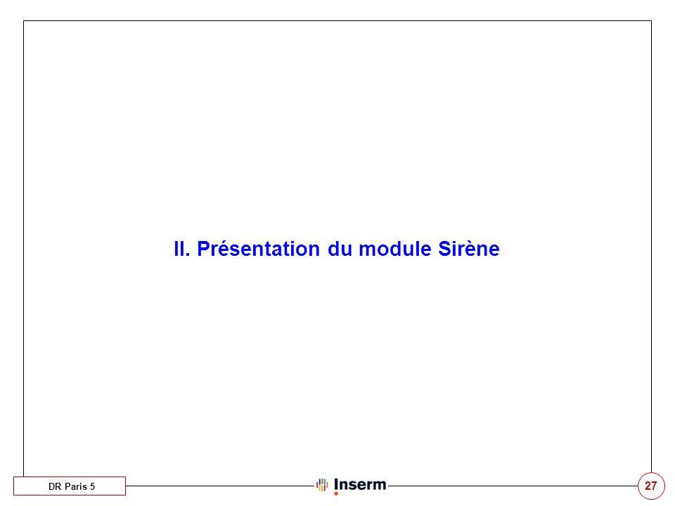 27 II. Présentation du module Sirène DR Paris 5