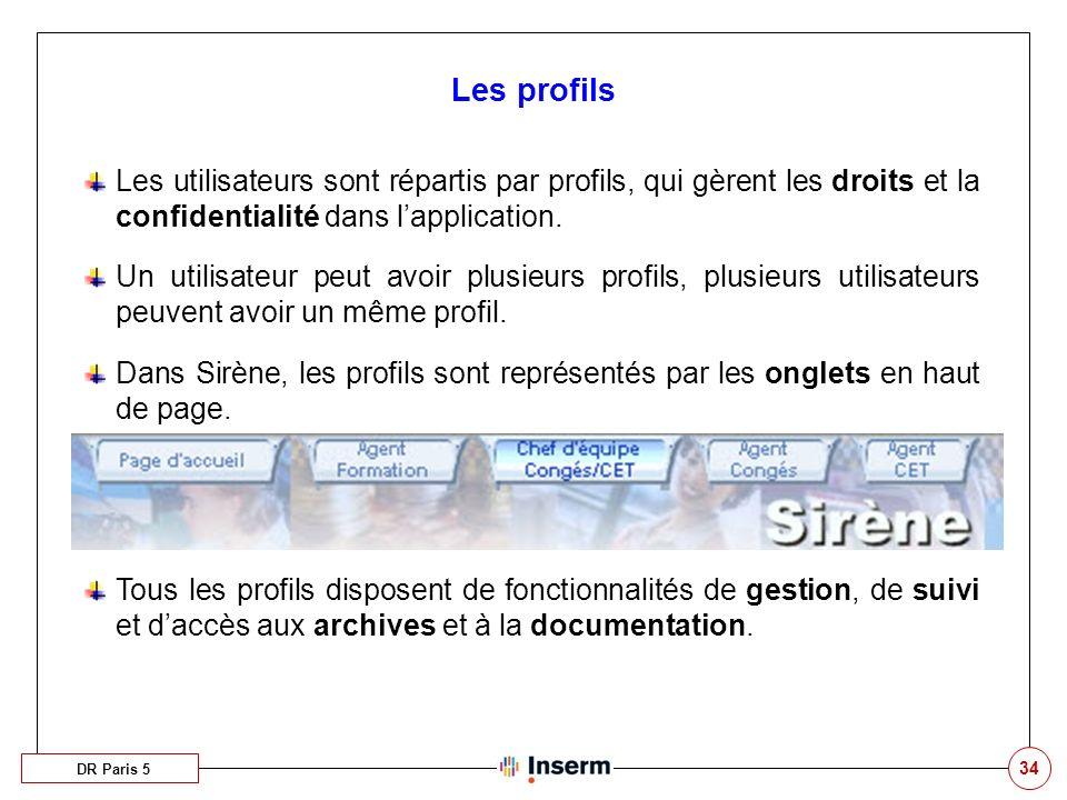 34 Les profils DR Paris 5 Les utilisateurs sont répartis par profils, qui gèrent les droits et la confidentialité dans lapplication. Un utilisateur pe