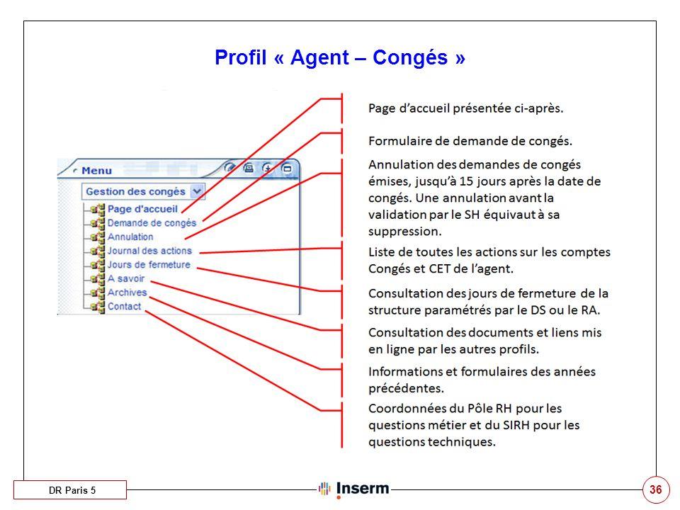 36 Profil « Agent – Congés » DR Paris 5