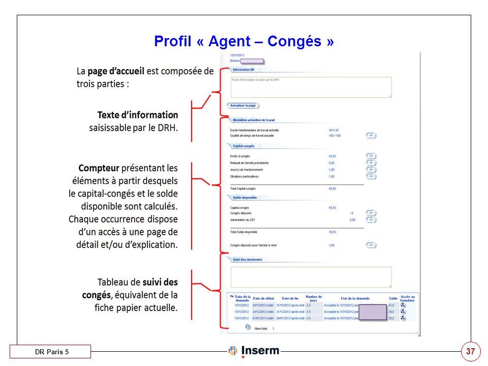 37 Profil « Agent – Congés » DR Paris 5