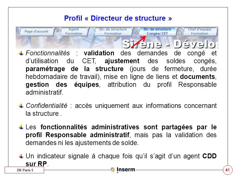 41 Profil « Directeur de structure » DR Paris 5 Fonctionnalités : validation des demandes de congé et dutilisation du CET, ajustement des soldes congé