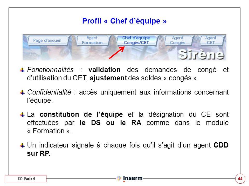 44 Profil « Chef déquipe » DR Paris 5 Fonctionnalités : validation des demandes de congé et dutilisation du CET, ajustement des soldes « congés ». Con