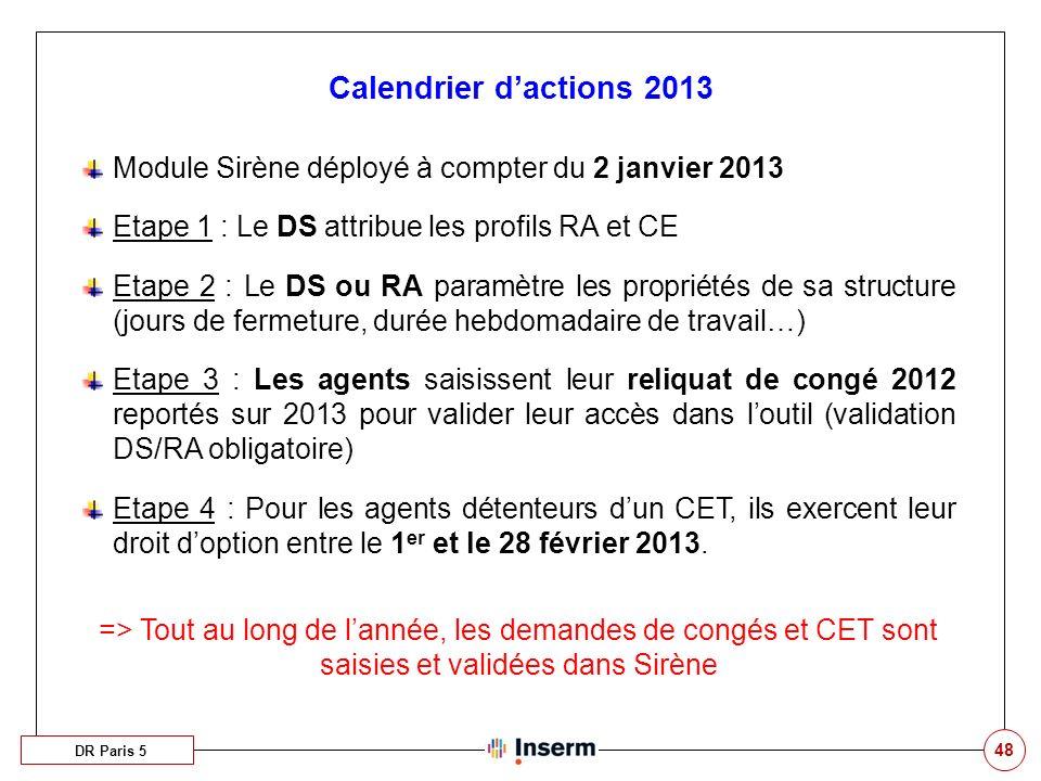 48 Calendrier dactions 2013 DR Paris 5 Module Sirène déployé à compter du 2 janvier 2013 Etape 1 : Le DS attribue les profils RA et CE Etape 2 : Le DS