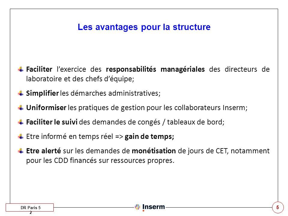 5 Les avantages pour la structure DR Paris 5 2 Faciliter lexercice des responsabilités managériales des directeurs de laboratoire et des chefs déquipe