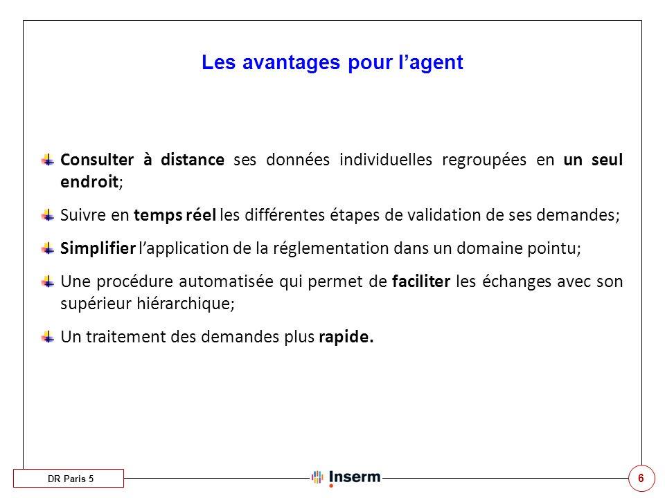6 Les avantages pour lagent DR Paris 5 Consulter à distance ses données individuelles regroupées en un seul endroit; Suivre en temps réel les différen