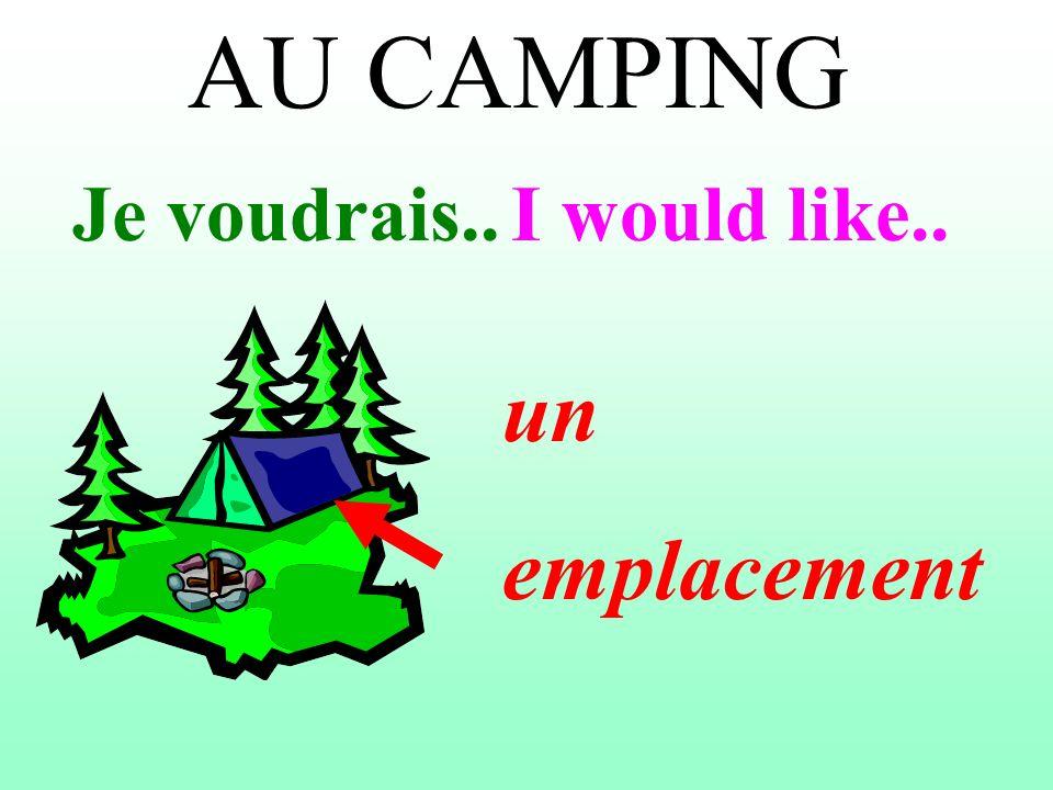 AU CAMPING Je voudrais..I would like.. un emplacement