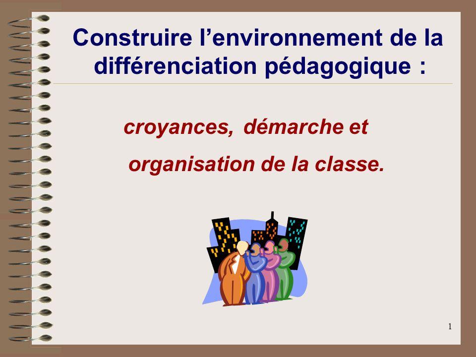 1 Construire lenvironnement de la différenciation pédagogique : croyances,démarche et organisation de la classe.