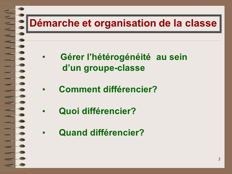 3 Gérer lhétérogénéité au sein dun groupe-classe Comment différencier? Quoi différencier? Quand différencier? Démarche et organisation de la classe