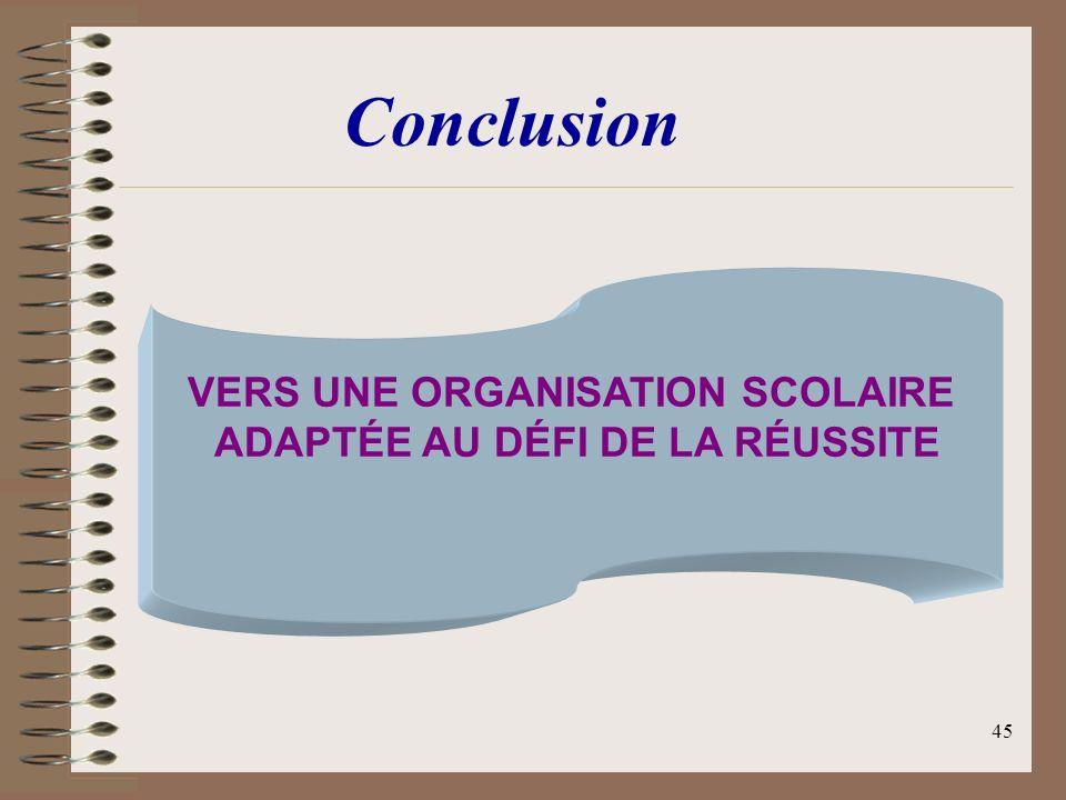 45 VERS UNE ORGANISATION SCOLAIRE ADAPTÉE AU DÉFI DE LA RÉUSSITE Conclusion