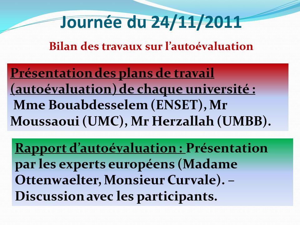 Journée du 24/11/2011 Présentation des plans de travail (autoévaluation) de chaque université : Mme Bouabdesselem (ENSET), Mr Moussaoui (UMC), Mr Herzallah (UMBB).