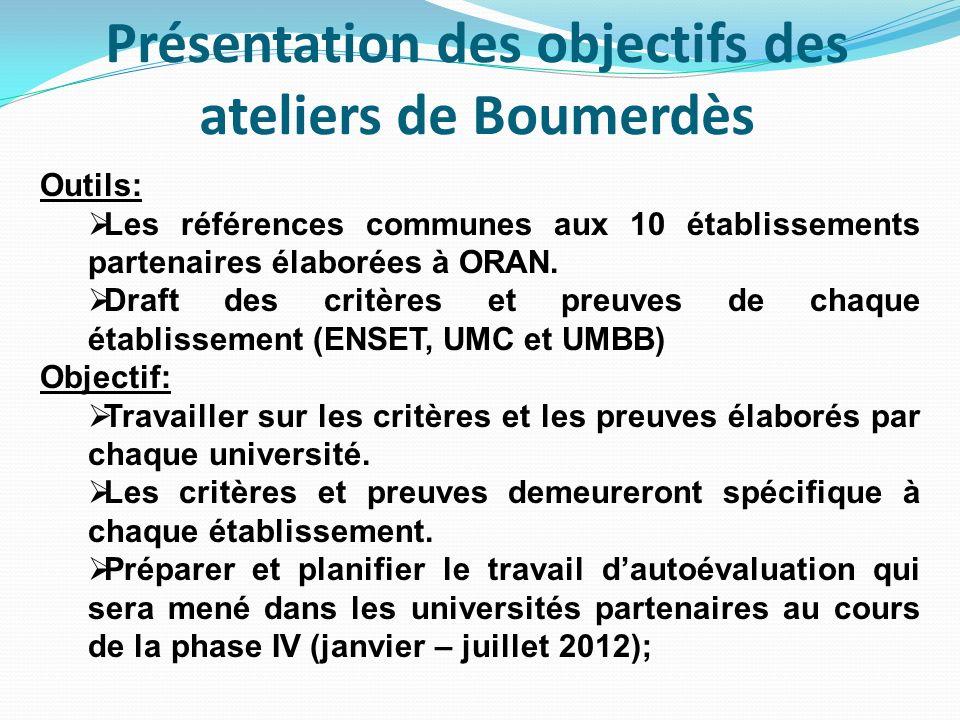 Présentation des objectifs des ateliers de Boumerdès Outils: Les références communes aux 10 établissements partenaires élaborées à ORAN.