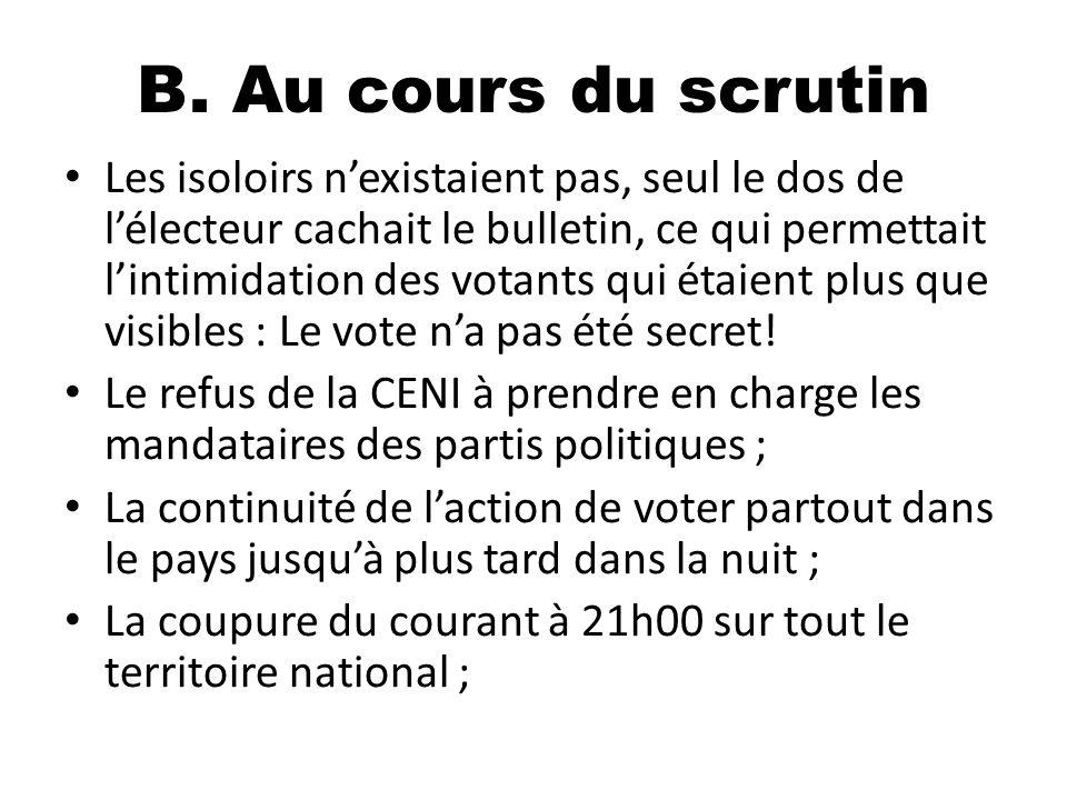 B. Au cours du scrutin Les isoloirs nexistaient pas, seul le dos de lélecteur cachait le bulletin, ce qui permettait lintimidation des votants qui éta