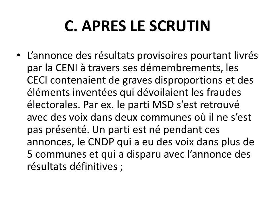 C. APRES LE SCRUTIN Lannonce des résultats provisoires pourtant livrés par la CENI à travers ses démembrements, les CECI contenaient de graves disprop