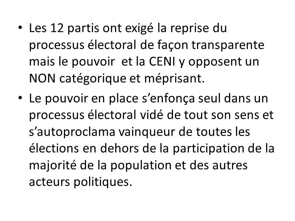 Les 12 partis ont exigé la reprise du processus électoral de façon transparente mais le pouvoir et la CENI y opposent un NON catégorique et méprisant.