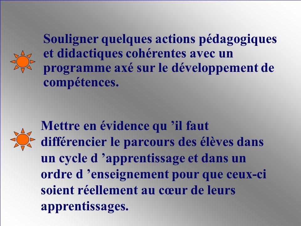 Dans le respect de la dynamique d un cycle d apprentissage, les évaluations doivent mettre l accent sur : la trajectoire de développement des compétences visées; le degré de développement des compétences en question; les ressources - dont les connaissances - mobilisables par les compétences en question.