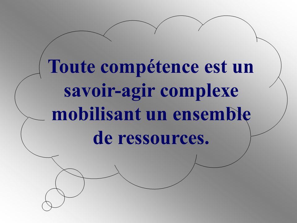 Toute compétence est un savoir-agir complexe mobilisant un ensemble de ressources.