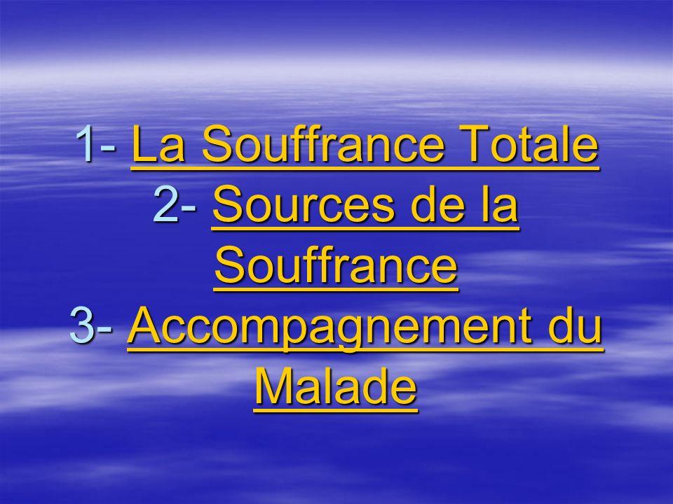 1- La Souffrance Totale 2- Sources de la Souffrance 3- Accompagnement du Malade La Souffrance TotaleSources de la SouffranceAccompagnement du MaladeLa