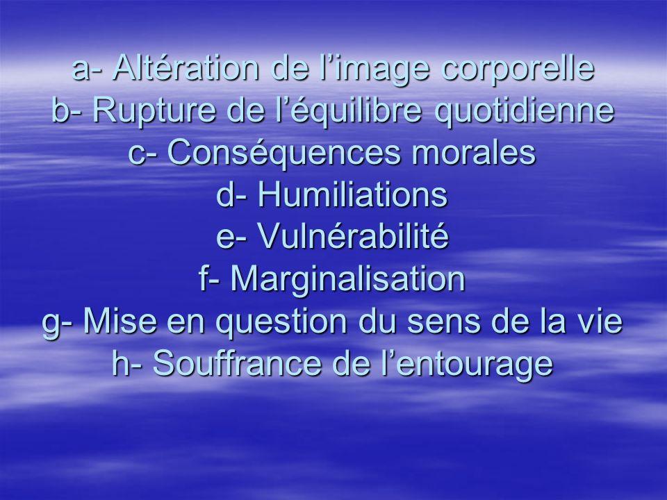 a- Altération de limage corporelle b- Rupture de léquilibre quotidienne c- Conséquences morales d- Humiliations e- Vulnérabilité f- Marginalisation g-
