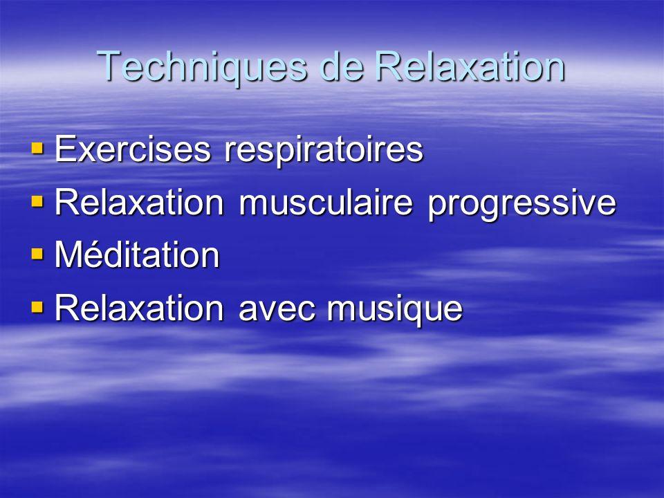 Techniques de Relaxation Exercises respiratoires Exercises respiratoires Relaxation musculaire progressive Relaxation musculaire progressive Méditatio
