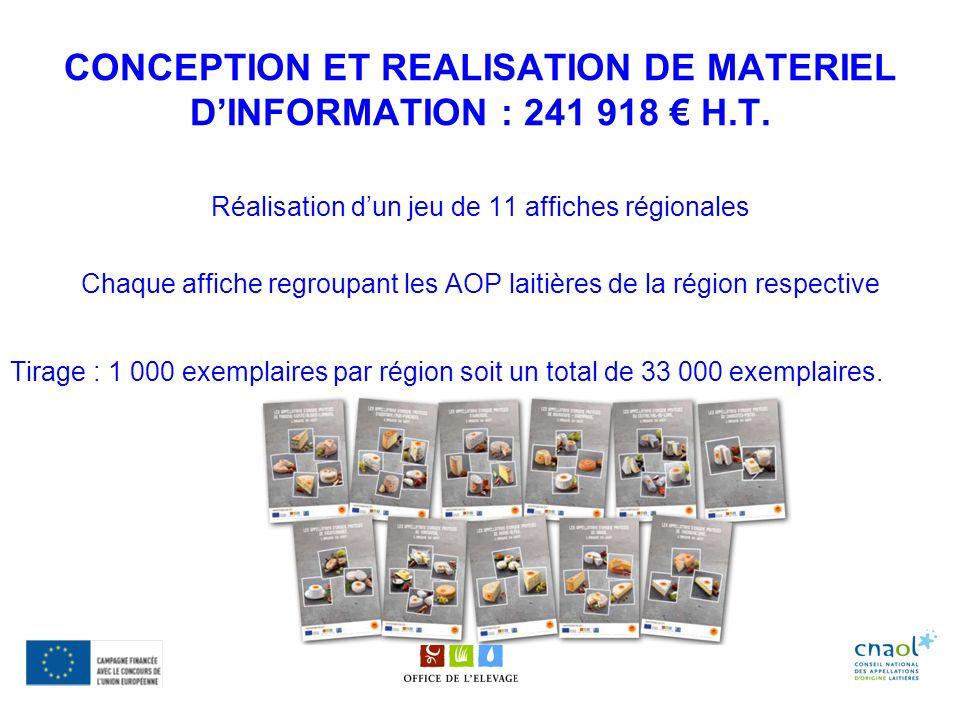 CONCEPTION ET REALISATION DE MATERIEL DINFORMATION : 241 918 H.T. Réalisation dun jeu de 11 affiches régionales Chaque affiche regroupant les AOP lait