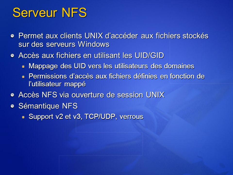 Serveur NFS Permet aux clients UNIX daccéder aux fichiers stockés sur des serveurs Windows Accès aux fichiers en utilisant les UID/GID Mappage des UID