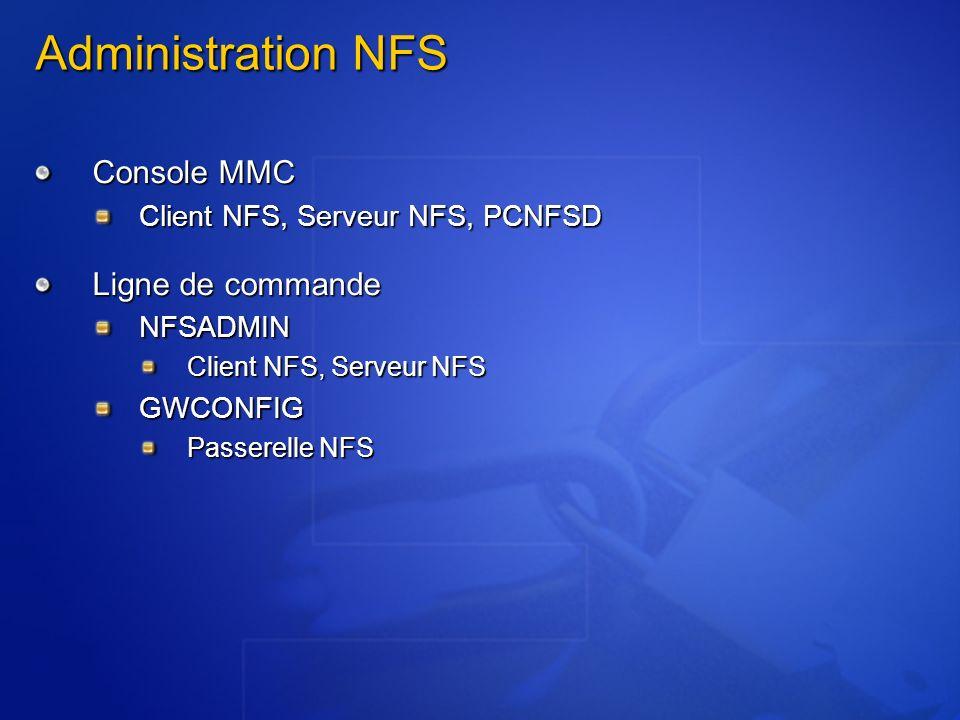 Administration NFS Console MMC Client NFS, Serveur NFS, PCNFSD Ligne de commande NFSADMIN Client NFS, Serveur NFS GWCONFIG Passerelle NFS