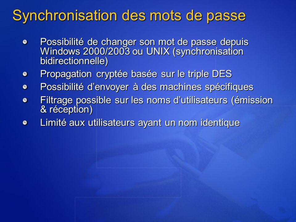Synchronisation des mots de passe Possibilité de changer son mot de passe depuis Windows 2000/2003 ou UNIX (synchronisation bidirectionnelle) Propagat