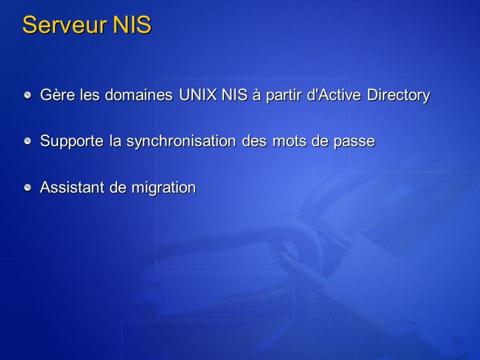 Serveur NIS Gère les domaines UNIX NIS à partir d'Active Directory Supporte la synchronisation des mots de passe Assistant de migration