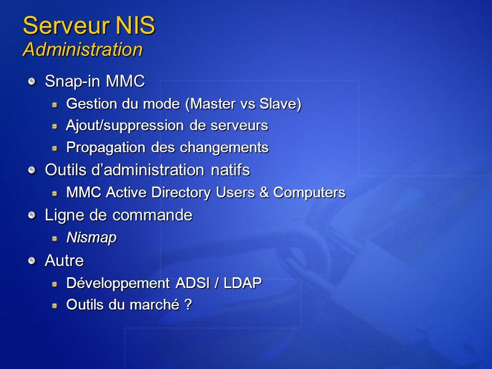 Serveur NIS Administration Snap-in MMC Gestion du mode (Master vs Slave) Ajout/suppression de serveurs Propagation des changements Outils dadministrat
