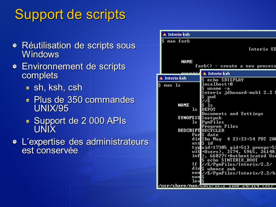 Support de scripts Réutilisation de scripts sous Windows Environnement de scripts complets sh, ksh, csh Plus de 350 commandes UNIX/95 Support de 2 000