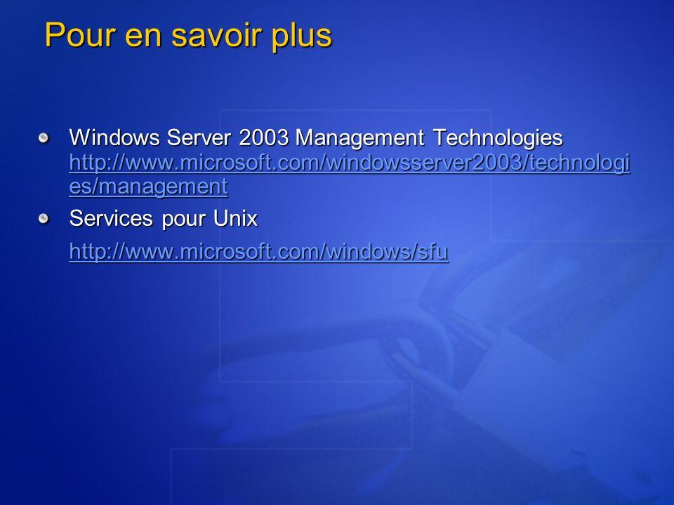 Pour en savoir plus Windows Server 2003 Management Technologies http://www.microsoft.com/windowsserver2003/technologi es/management http://www.microso