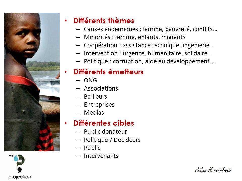 Différents thèmes – Causes endémiques : famine, pauvreté, conflits… – Minorités : femme, enfants, migrants – Coopération : assistance technique, ingénierie… – Intervention : urgence, humanitaire, solidaire… – Politique : corruption, aide au développement… Différents émetteurs – ONG – Associations – Bailleurs – Entreprises – Medias Différentes cibles – Public donateur – Politique / Décideurs – Public – Intervenants