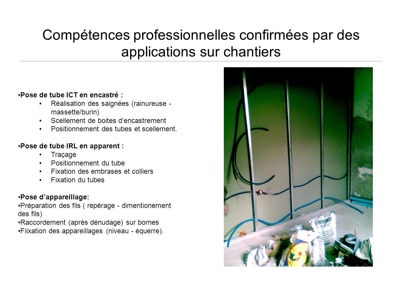 Compétences professionnelles confirmées par des applications sur chantiers Pose de tube ICT en encastré : Réalisation des saignées (rainureuse - masse