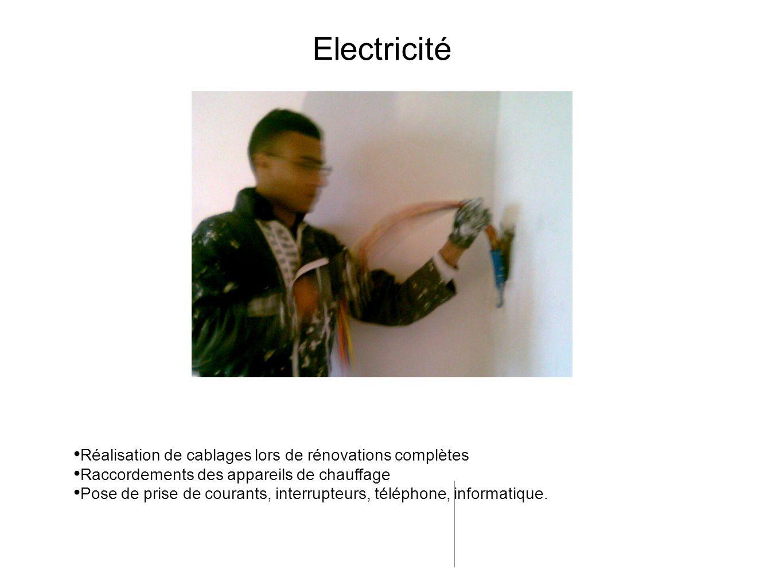 Réalisation de cablages lors de rénovations complètes Raccordements des appareils de chauffage Pose de prise de courants, interrupteurs, téléphone, in