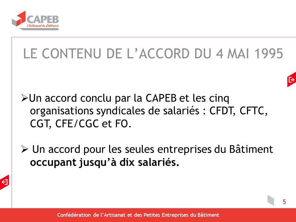 Confédération de lArtisanat et des Petites Entreprises du Bâtiment 5 Un accord conclu par la CAPEB et les cinq organisations syndicales de salariés : CFDT, CFTC, CGT, CFE/CGC et FO.
