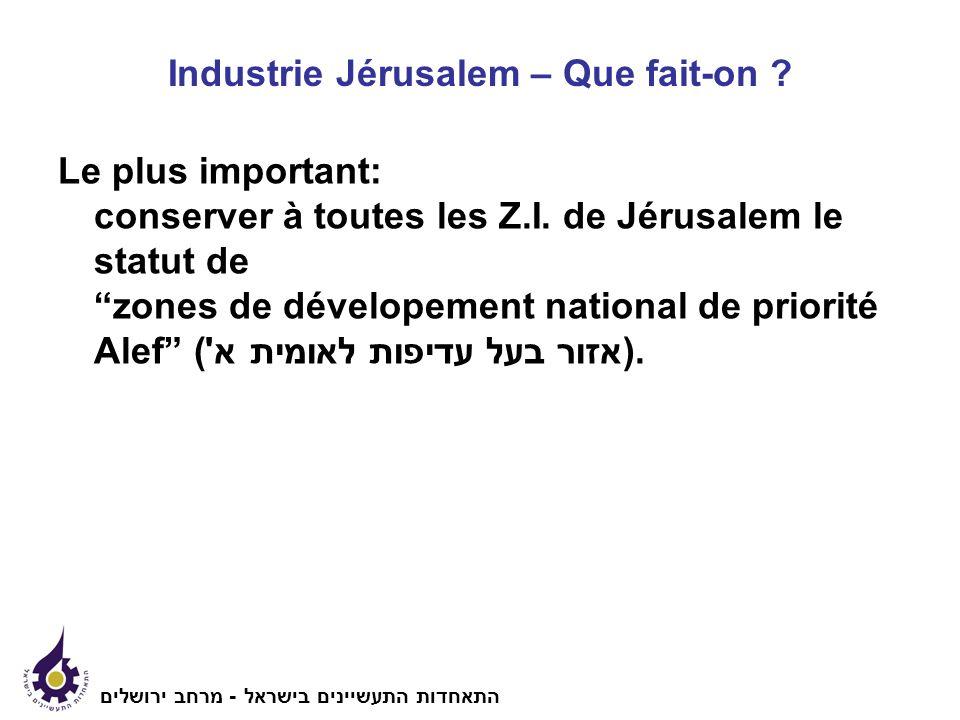 Industrie Jérusalem – Que fait-on . Le plus important: conserver à toutes les Z.I.