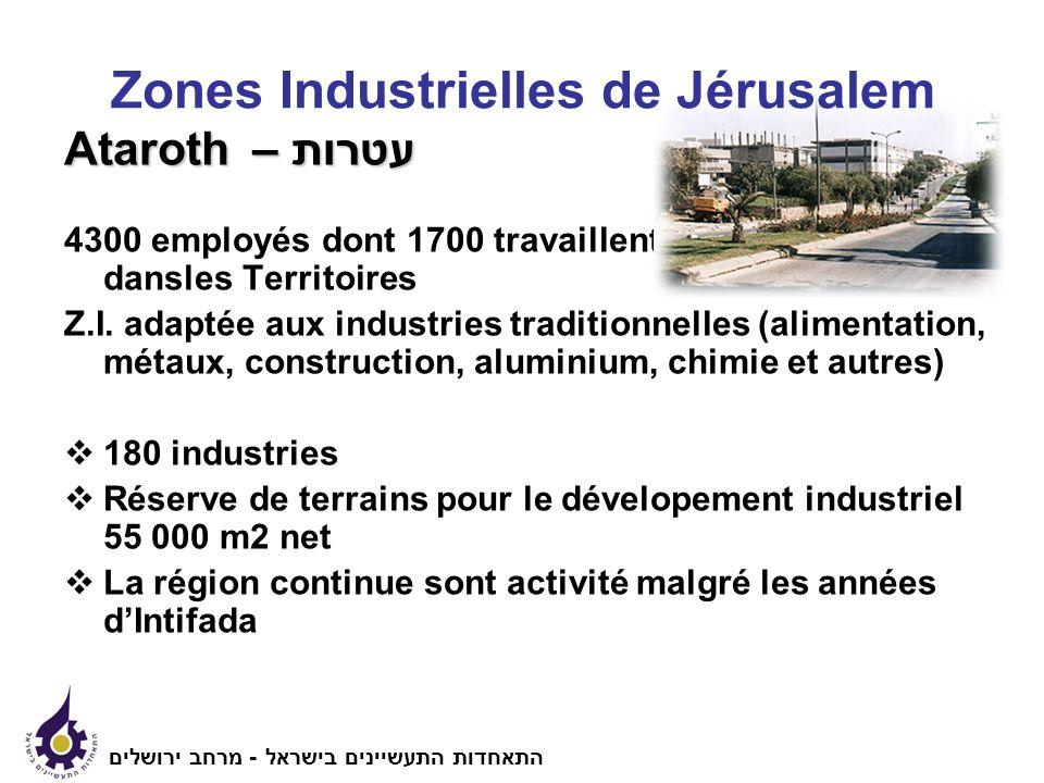 Ataroth עטרות – 4300 employés dont 1700 travaillent dansles Territoires Z.I.